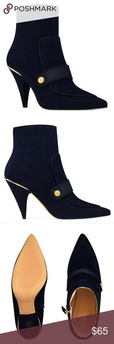 """NINE WEST  Sexy Suede Booties  Nine West Pointy Toe Suede Booties   Size:  9.5 Color:  Navy/Black Trim Condition:  Brand new without box  Padded insole for all-day comfort Suede upper Man-made lining and sole 4 1/4"""" shaft 3 3/4"""" heel Pointy toe Side zipper  A pointy toe and slim silhouette distinguish this ultra-chic bootie with piping around the edges, a metallic detail at the side and top of the cone-shaped heel. A side zipper makes it easy to slip on and off. Nine West Shoes Ankle Boots…"""