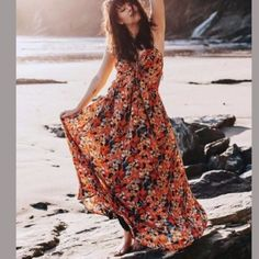 Free People Mulberry Floral Strappy Maxi Dress