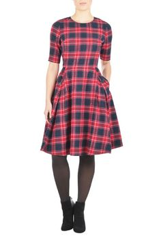 I <3 this Flannel check buttoned A-line dress from eShakti