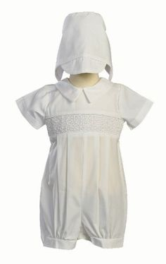 2f95f6ca3fde Preemie boy s christening romper with open-work embroidery and ...