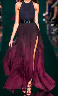 Elie Saab Slit Skirt Dress Purple Ombre valentines day style #UNIQUE_WOMENS_FASHION