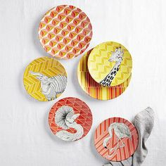 Animal Geo Melamine Plates @Jennifer Korich Flamingos and Giraffes!