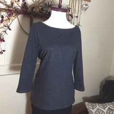 Old Navy Top Gray 3 quarter sleeve 100% cotton scoop neck sweater top with zipper in back for cute look  Old Navy Tops