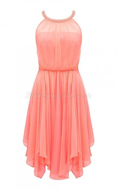Discount Chiffon Jewel Neck Short Bridesmaid Dress BSD-UK-389