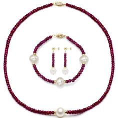 Red ruby jewelry is completely stunning and breathtakingly beautiful.  I understand while women's ruby jewelry is so trendy not to mention in demand. A great gift even if you just want to spoil yourself.  Obviously red ruby jewelry make great gifts    14k Yellow Gold 9-9.5m White Freshwater Cultured Pearl and 4-4.5mm Simulated Red Ruby Jewelry Set