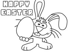 """This cute bunny wants to give you a big Easter egg, and wish you a """"Happy Easter"""". Color in and print at half-size to make a unique Easter card. Free Easter Coloring Pages, Egg Coloring Page, Easter Colouring, Big Easter Eggs, Happy Easter, Easter Wishes, Easter Greeting Cards, Cute Bunny"""