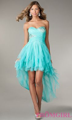 Ruffled High Low Strapless Dress by LA Glo at PromGirl.com