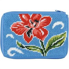 Stitch & Zip Coin Purse<BR>Red Floral