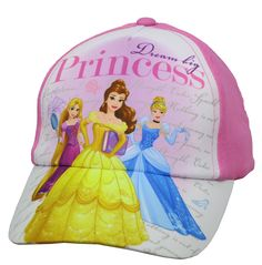 Disney Princess Dream Big Princess Girls Baseball Cap - Size 4-14 [6014]. Featuring Princess Cinderella, Aurora and Belle,. Adjustable Velcro Closure At Back For Ultimate Comfort,. One Size Fits Most. Spot clean only. Officially licensed © Disney product.