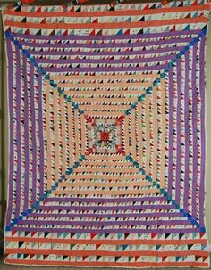 AMAZING Vintage Trip Around the World Antique Quilt ~SMALL TRIANGLE PIECES…