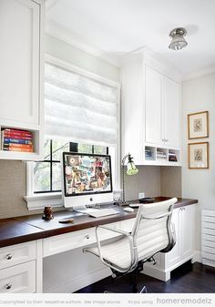 bright home office space + white chair