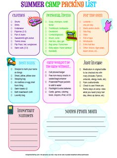 Free Printable Summer Camp Packing List