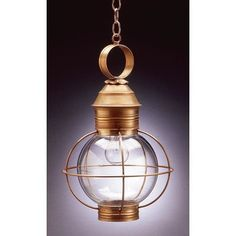 Northeast Lantern Onion 1 Light Outdoor Hanging Lantern Finish: Verdi Gris, Shade Type: Clear