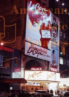 Broadway marquee La Cage aux Folles Palace Theatre
