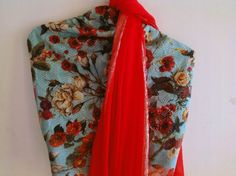 Chilli red chiffon saree with aqua blue by GiaExquisiteIndian