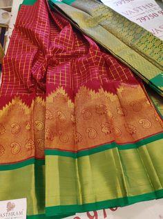 Maroon Colour Zari checks cotton silk saree with Contrast Green Zari Pallu & Blouse Maroon Color, Cotton Silk, Silk Sarees, Blouse, Blouse Band, Blouses, Silk, Sweatshirt, Top