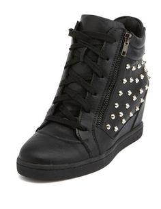 Studded Zipper-Trim Wedge Sneaker: Charlotte Russe