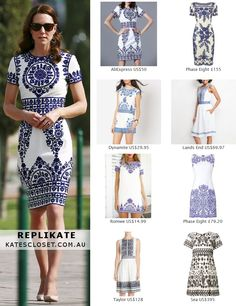 Click to shop repliKates of the Naeem Khan White/Blue Embroidered Dress