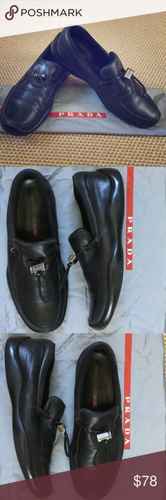 Prada Sport Men's Slip On Black leather Shoes Prada Sport Men's Slip On Black leather Shoes. Men's Shoe Size 9. These authentic Prada Sport shoes are in good condition and excellent quality! Best part is they are very comfortable!!! Comes with original shoe bag. Smooth Leather Upper Softly Squared Toe Leather Lining Molded Rubber Sole Made in Italy Prada Shoes Loafers & Slip-Ons