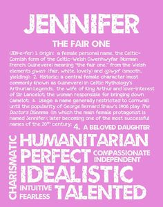 JENNIFER Personalized Name Print / Typography Print by OhBabyNames