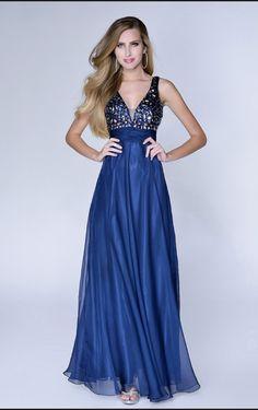 A-line Deep V-neck Floor-length Dress