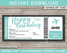 DIY Printable Editable Boarding Pass Surprise Fake Airline | Etsy Boarding Pass Template, Ticket Template, Printable Designs, Printables, Happy Birthday Text, Free Thank You Cards, Travel Gifts, As You Like, Party Invitations