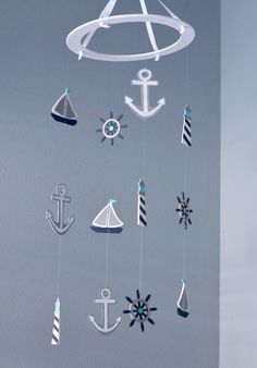 Nautical Baby Mobile -Sailboat Anchor Wheel Lighthouse - Navy White Gray Turquoise