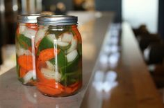 Don't worry, these pickles won't be overwhelmingly hot (as long as you remove the seeds and pith from the serranos).