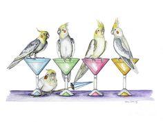 Cockatiel Hour Drawing by Robbie Garrity