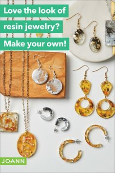 Love the look of resin jewelry? Make your own! Diy Jewelry Projects, Craft Projects, Sewing Hacks, Sewing Tutorials, How To Make Resin, Resin Jewelry Making, Valentine Decorations, Joanns Fabric And Crafts, Craft Stores