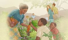 Personas cosechando alimentos y disfrutando del Paraíso terrestre bajo el Reino de Dios