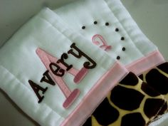 Personalized Burp cloths set of two prefold diaper- with Giraffe print minky- baby burp cloth pink