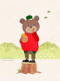 kiyomi saitou Bear Illustration, Japan Design, Illustrations And Posters, Childrens Books, Illustrators, Fairy Tales, Character Design, Clip Art, Kawaii