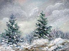 Winter, snow scene, 3x4,original oil painting by valdasfineart on Etsy