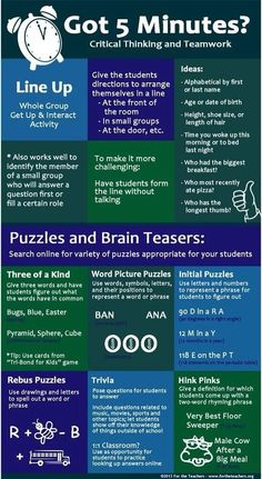 Critical Thinking and Teamwork activities this activity could be very useful to get students thinking especially after lunch times
