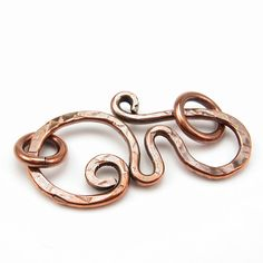Rustic, Copper Clasp, Hand-Forged Metalwork, 14 Gauge, OOAK. $8.99, via Etsy.