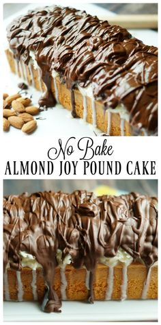 No Bake Almond Joy Pound Cake is a delicious and easy no bake dessert, perfect for warm summer days or last minute get togethers! Easy Chocolate Desserts, Coconut Desserts, Easy No Bake Desserts, Easy Desserts, Delicious Desserts, Baking Desserts, Baking Recipes, Almond Joy Cake, Almond Cakes
