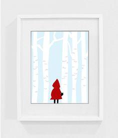 Little Red Riding Hood - nursery art print, children's art, kids room, baby decor