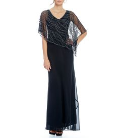 dd6447c4fcc Shop for Jkara Beaded Overlay Asymmetrical Hem Gown at Dillards.com