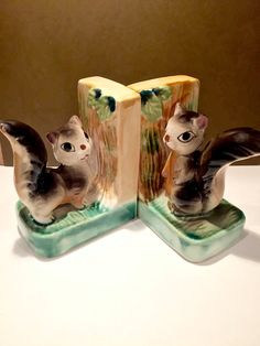 Vintage Squirrel Bookends-Adorable Ceramic porcelain pottery- Nursery or Kids Room Decorating-Adorable Forest Animal Accent pieces*