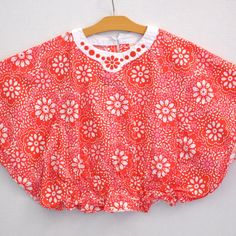 Gymboree Girls Shirt Size 8 Batwing Style Orange White Floral Print GUC #Gymboree #Everyday