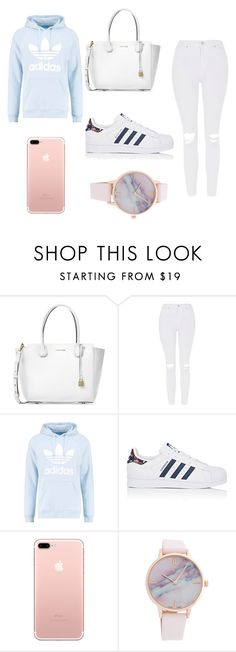 """""""school outfit """" by ashlehhfhbffg ❤ liked on Polyvore featuring Michael Kors, Topshop, adidas Originals and adidas"""