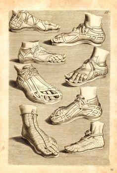 Models of Ancient Roman Sandals. Ancient Greece Clothing, Ancient Roman Clothing, Greek Clothing, Historical Costume, Historical Clothing, Ancient Rome, Ancient Art, Greek God Costume, Greece Costume