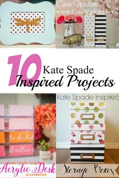 Check out these very do-able Kate Spade Inspired projects!  Projects span from framed art to office accessories.