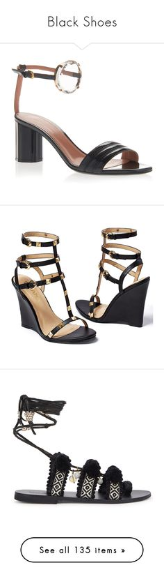 """""""Black Shoes"""" by kikikoji ❤ liked on Polyvore featuring shoes, sandals, black, metallic sandals, jeweled sandals, leather shoes, mid-heel sandals, embellished shoes, high heeled footwear and high heel wedge shoes"""