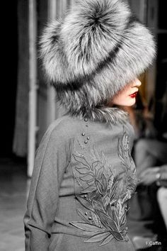 Gray and Black Fur Russian Style Hat.     // Pinned on @benitathediva, DIY Fashion Inspiration.