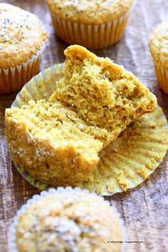 Lemon Coconut Chia Muffins. Zesty Muffins with Lemon, chia seeds, coconut and Turmeric. 1 bowl 30 minute muffins. Vegan Soy-free Nut-free Oil-free Recipe | VeganRicha.com