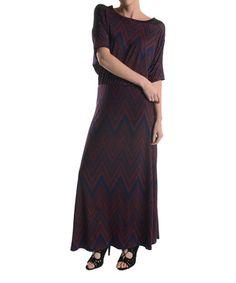Burgundy & Navy Chevron Maxi Dress by Adrienne #zulily #zulilyfinds