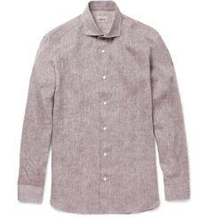BrioniContrast-Trim Linen Shirt|MR PORTER