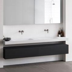 Baths by Clay - Wave - Hi-Macs (Solid Surface) wastafel op maat Minimalist Bathroom, Modern Bathroom, Master Bathroom, Bathroom Black, Bathroom Renovations, Home Renovation, Bathroom Furniture, Bathroom Interior, Solid Surface Countertops